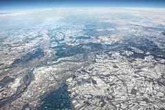 Beautiful aerial landscape view. View from airplane on winter. E. Aerial landscape view from airplane on winter. Photo taken from the air, high above Europe Stock Photo