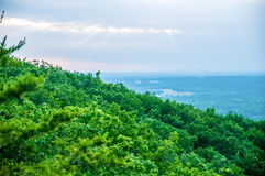 Beautiful aerial landscape views from crowders mountain near gas Stock Photos