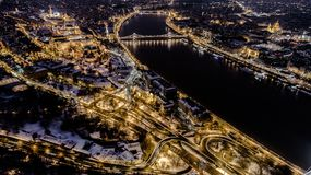Beautiful aerial night shot about a big town with bridges. In winter time Stock Photography