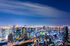 Beautiful Aerial night view of Osaka Cityscape, Japan. Royalty Free Stock Image