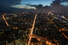 Beautiful aerial night view of Taipei, Taiwan with busy traffic light trails on the Xinyi Road Stock Photos