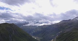 Beautiful aerial panorama of the swiss alps stock video