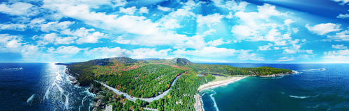 Beautiful aerial panoramic view of Acadia National Park in Maine.  Royalty Free Stock Photography