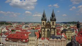 Aerial Panorama of the Church of Our Lady in Prague. Beautiful aerial panoramic view of the Church of Our Lady before Tyn on Old Town Square of Prague Kostel stock video