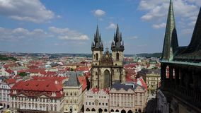 Aerial Panorama of the Church of Our Lady in Prague. Beautiful aerial panoramic view of the Church of Our Lady before Tyn on Old Town Square of Prague Kostel stock footage