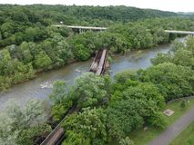 beautiful aerial photo of the James river royalty free stock photos