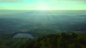 Beautiful aerial scenery in Dieng Plateau stock footage