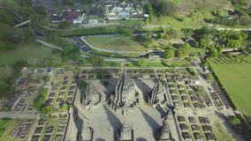 Aerial scenery footage of Prambanan temple stock video