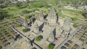 Aerial scenery of ancient Prambanan temple stock video