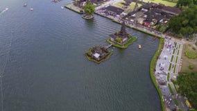 Aerial scenery of Ulun Danu Bratan Temple stock footage