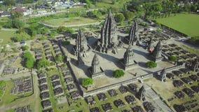 Aerial scenery video of Prambanan temple stock video