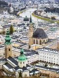 Beautiful aerial shot on tilt shift lens of Salzburg, Austria Royalty Free Stock Photography