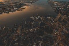 Beautiful aerial shot of urban city stock photos