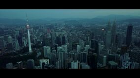 Aerial of morning view at Kuala Lumpur skyline stock video