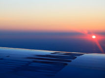 Beautiful aerial sunrise view. From airplane window Stock Photo