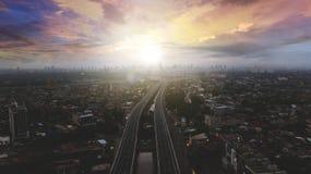 Beautiful aerial sunset view of Becakayu Toll way Stock Photography