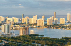Beautiful aerial sunset view of Miami Beach from helicopter Royalty Free Stock Images