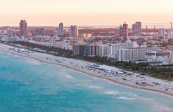 Beautiful aerial sunset view of Miami Beach from helicopter Royalty Free Stock Photos