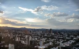 Aerial sunset of Polanco district in Mexico City. royalty free stock image