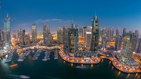 Beautiful aerial top view day to night timelapse of Dubai Marina in Dubai, UAE. Beautiful aerial  top view day to night timelapse of Dubai Marina promenade and stock video