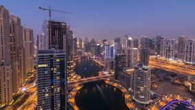 Beautiful aerial top view day to night transition timelapse of Dubai Marina canal. Beautiful aerial top view day to night transition timelapse of all Dubai stock video