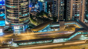 Beautiful aerial top view at night timelapse of Dubai Marina in Dubai, UAE. Metro and tram station. Beautiful aerial top view at night timelapse of Dubai Marina stock video