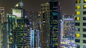 Beautiful aerial top view at night timelapse of Dubai Marina in Dubai, UAE stock video