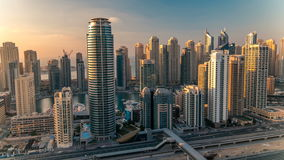 Beautiful aerial top view at sunset timelapse of Dubai Marina and JLT in Dubai, UAE. Beautiful aerial top view at sunset timelapse of Dubai Marina and JLT stock footage