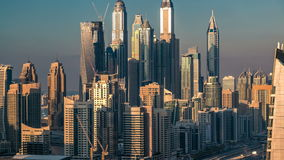 Beautiful aerial top view at sunset timelapse of Dubai Marina and JLT in Dubai, UAE. Beautiful aerial top view at sunset timelapse of Dubai Marina and JLT tall stock video