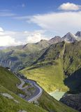 Alpine mountains road. Beautiful aerial view on Alpine mountains, grossglockner alpine road, Austria Stock Image