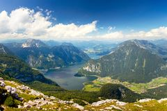 Beautiful Aerial view of Alps mountain valley with beautiful lake and peaks stock photos