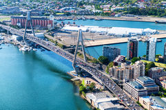 Beautiful aerial view of Anzac Bridge and Sydney skyline from he Royalty Free Stock Image