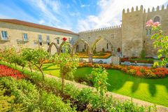 Episcopal Palace in Braga. Beautiful aerial view of architectural complex with medieval arcade of Episcopal Palace of Braga or Paco Episcopal Bracarense in town Royalty Free Stock Photos