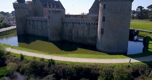 Beautiful aerial view around a medieval castle stock footage