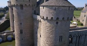 Beautiful Aerial View around a Medieval Castle stock video footage