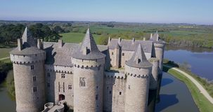 Beautiful Aerial View around a Medieval Castle stock video