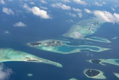 Beautiful aerial view of atoll with tropical islands at Maldives Royalty Free Stock Photography