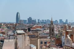 Beautiful aerial view of Barcelona skyline, Spain.  stock photos