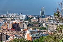 Beautiful aerial view of Barcelona skyline, Spain.  royalty free stock images