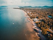 Beautiful aerial view of beach and sea in chumphon province Thai royalty free stock photo