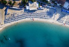 Beautiful aerial view with beach and umbrellas. Holiday concept Royalty Free Stock Photography