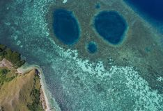 Beautiful aerial view of beaches in Flores Island, Indonesia Royalty Free Stock Images
