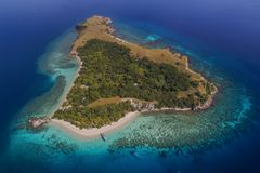 Beautiful aerial view of beaches in Flores Island, Indonesia Royalty Free Stock Photography