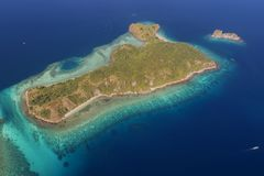 Beautiful aerial view of beaches in Flores Island, Indonesia Royalty Free Stock Image