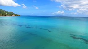 Beautiful aerial view of the beach, Indian Ocean And Mountains 7, Seychelles. Beautiful aerial view of the Beau Vallon Beach, Indian Ocean And Mountains stock footage