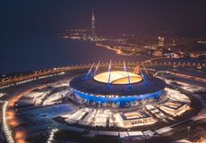 Beautiful aerial view from the bird`s eye view of the Gulf of Finland, Saint-Petersburg, Russia, with a stadium, western rapid di. Ameter and cable-stayed bridge Stock Photography