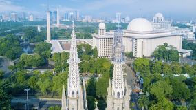 Cathedral Church and Istiqlal mosque in downtown. Beautiful aerial view of Cathedral Church and Istiqlal mosque at Jakarta, Indonesia Royalty Free Stock Images