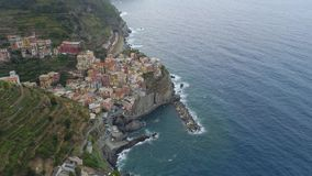 Beautiful aerial view of Cinque Terre coast in italy stock footage