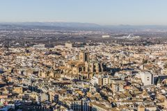 Beautiful aerial view of the city of Granada highlighting its cathedral royalty free stock photo