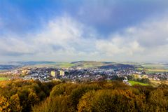 Beautiful aerial view of the city of Vaals on a wonderful day. Beautiful aerial view of the city of Vaals on a wonderful and sunny autumn day with a blue sky and royalty free stock image